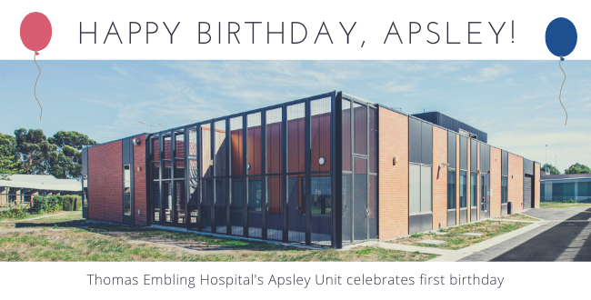 Apsley Unit at Thomas Embling Hospital celebrates first birthday.