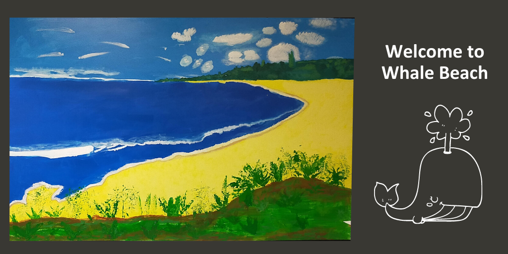 Welcome to Whale Beach, a mural created by patients at Thomas Embling Hospital.