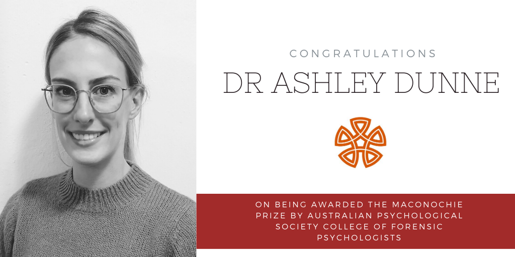 Dr Ashley Dunne, research fellow at the Centre for Forensic Behavioural Science, has been awarded the Maconochie Prize.