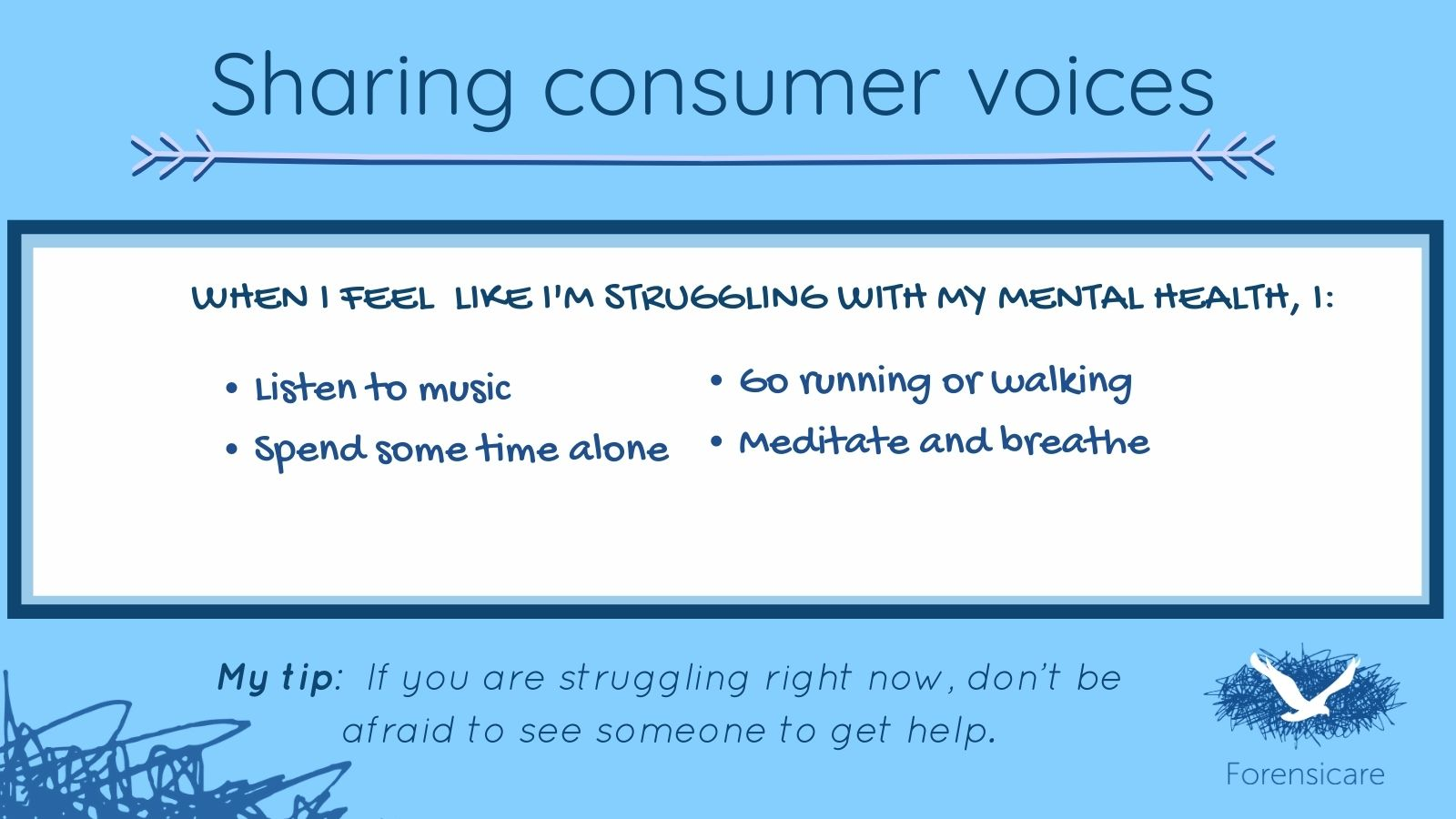 Lived experience mental health tips and advice: sharing the voices of mental health consumers