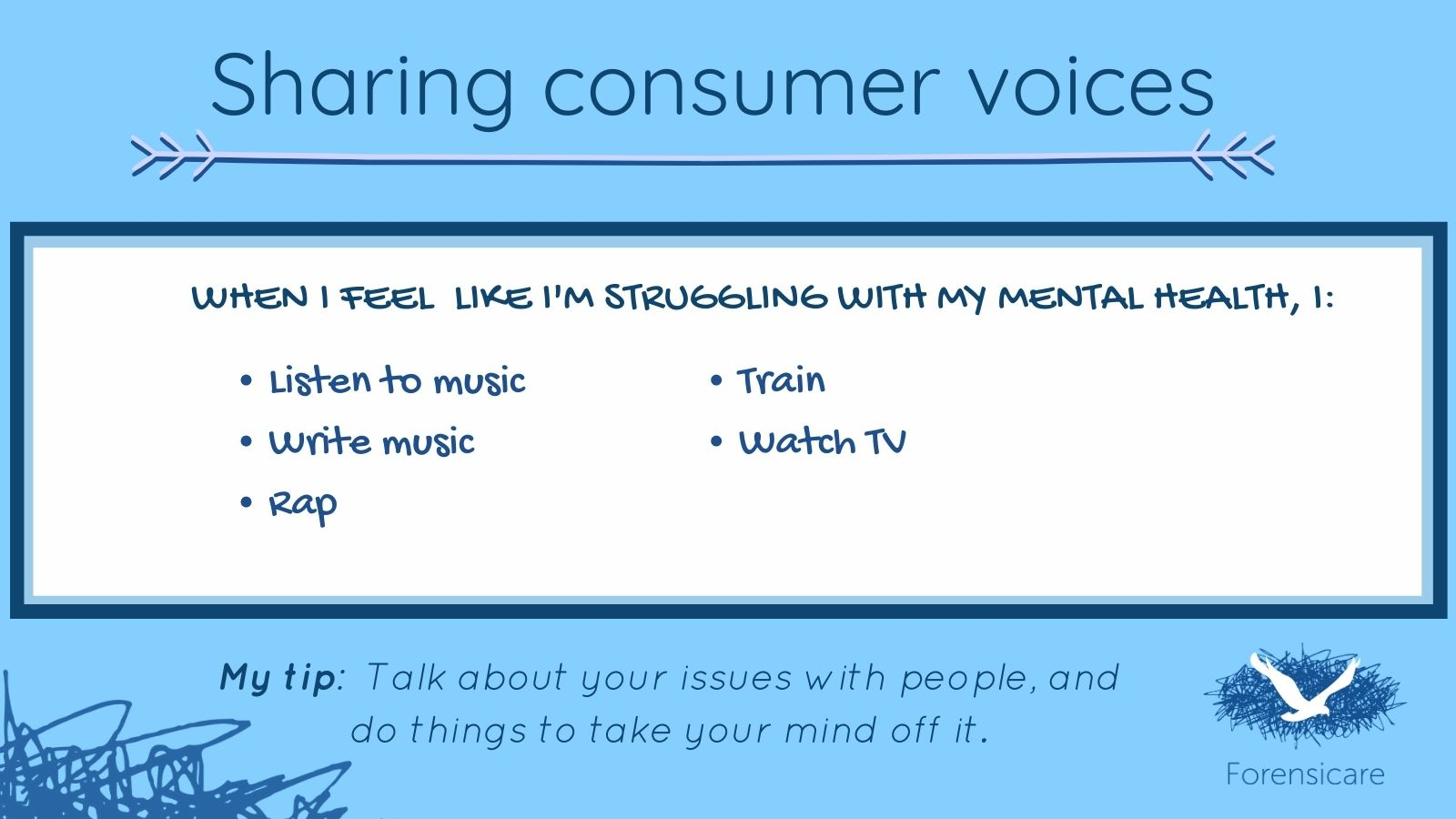 Mental health tips from consumers